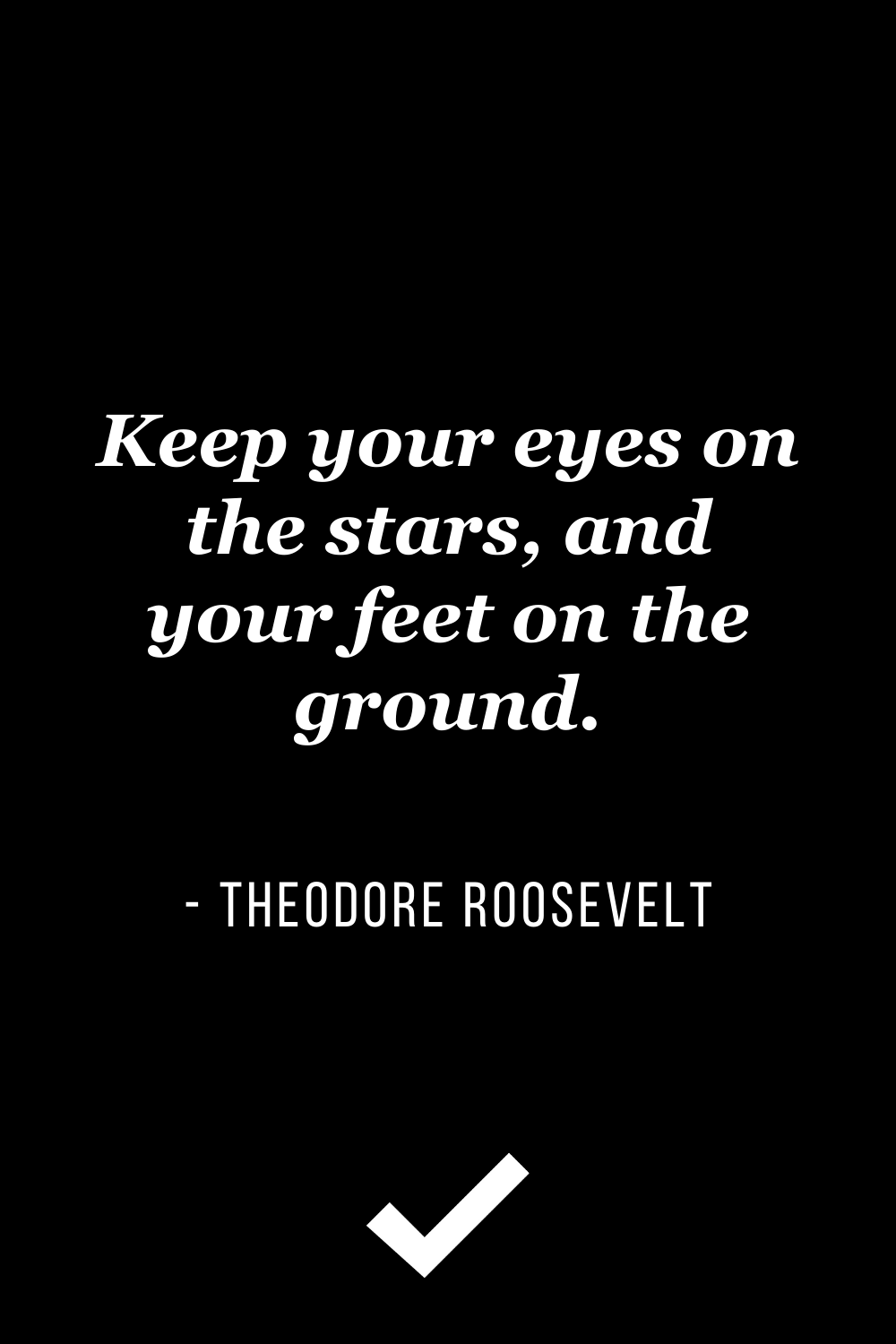 """""""Keep your eyes on the stars, and your feet on the ground."""" – Theodore Roosevelt"""